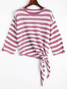 Open Sleeve Bow Tied Stripes Sweater - Purple