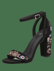 76d8daecf13d 39% OFF  2019 Embroidered Ankle Strap Block Heel Sandals In BLACK ...