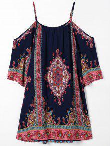 Cold Shoulder Paisley Beach Dress - Purplish Blue Xl