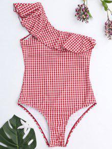 A Cuadros Un Hombro Volantes Swimwear - Rojo+blanco L