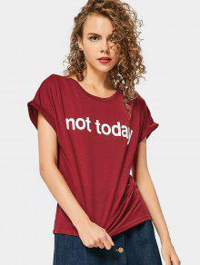 Round Collar Letter Print Tee - Wine Red S