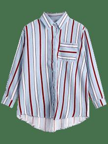 Palangre 243;n Claro Rayada Encima La Azul Del Camisa Bolsillo Del De Bot OwR7gZqw