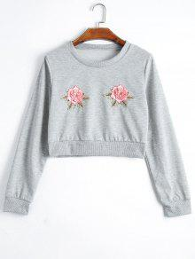 Floral Patchwork Cropped Sweatshirt - Gray Xl