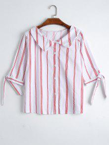 Button Up Self Tie Sleeve Striped Blouse - Stripe L