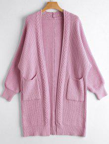 Buy Open Front Long Cardigan Pockets - PINKISH PURPLE ONE SIZE