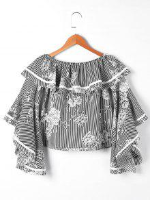 Striped And Floral Off The Shoulder Blouse - Black Stripe Xl