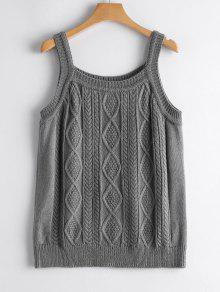 Square Collar Cable Knit Tank Top - Light Gray