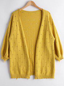 Hollow Out Lantern Sleeve Cardigan - Yellow