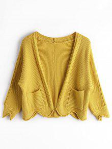 Open Front Plain Cardigan With Pockets - Ginger
