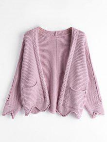 Open Front Plain Cardigan With Pockets - Pink