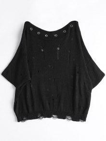 Camiseta De Punto Rasgada Con Cuello De Barco - Negro