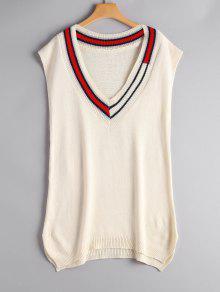 Plunging Neck Side Slit Sleeveless Sweater - Beige