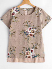 Floral Print Patchwork Blouse - Yellowish Pink L