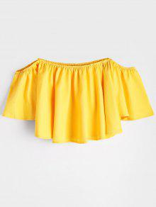 Flare Sleeve Off The Shoulder Cropped Blouse - Yellow S