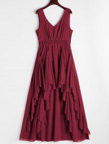 فستان متدرج مفتوحة الظهر غارق الرقبة - أحمر غامق Xl