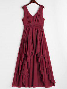 Plunging Neck Open Back Tiered Dress - Deep Red S