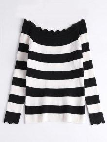 Off The Shoulder Zigzag Striped Knitted Top - Black