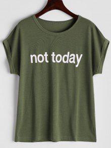 Camiseta Redonda De La Impresión De La Letra Del Collar - Verde Del Ejército L