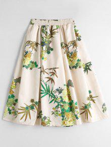Floral Puffball High Waisted Midi Skirt - Floral L