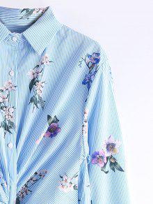 Rayas Twist Larga Florales L Manga Camisa De Raya Vestido IpEwxqHx