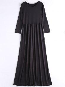 Vestido Largo De Manga Larga Casual - Negro Xl