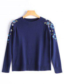 Crew Neck Floral Embroidered Sweater - Deep Blue