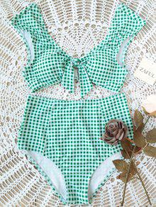 Checked Tie Front High Waisted Bikini - White And Green Xl