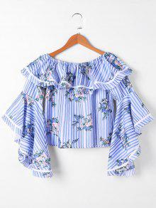 Floral Ruffle Striped Crop Top - Blue Stripe S