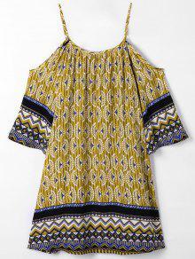 Bohemian Impreso Blusa De Hombro Frío - Jengibre S
