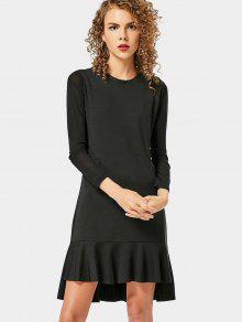 Mesh Panel High Low Dress - Black Xl