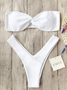 Twist Front Bandeau Thong Bikini - Blanc S