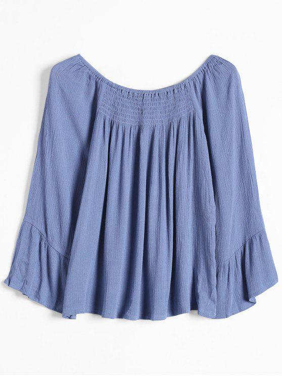 Top de hombros sueltos - Azul L