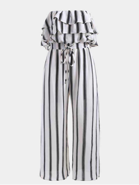 ladies Stripes Overlap Strapless Jumpsuit - STRIPE L