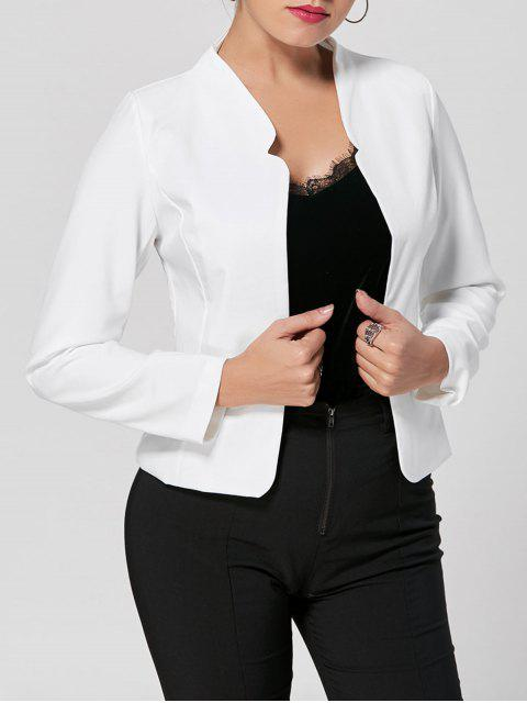 fancy Collarless Cropped Blazer - WHITE S Mobile