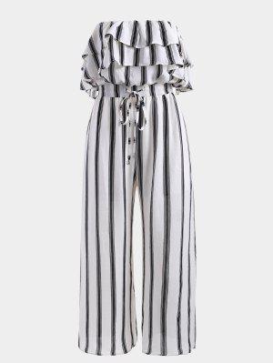 Stripes Overlap Strapless Jumpsuit - Stripe - Stripe L