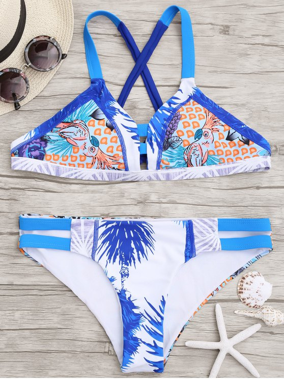 Printed Cross Back Cut Out Bikini - Multicolore L