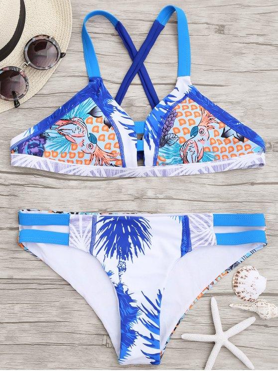 Printed Cross Back Cut Out Bikini - Cor Mistura S