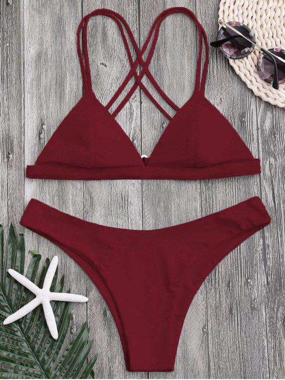 buy High Cut Cross Back Thong Bikini - DEEP RED L