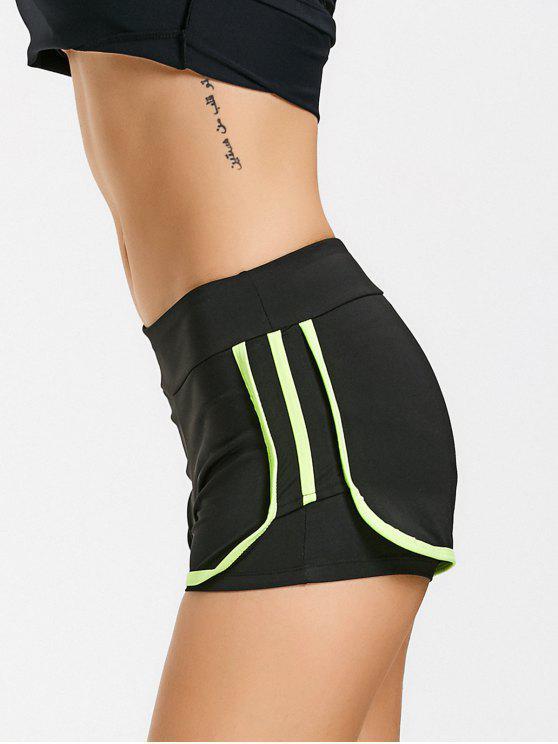 chic Stripe Trim Sports Shorts - NEON GREEN L