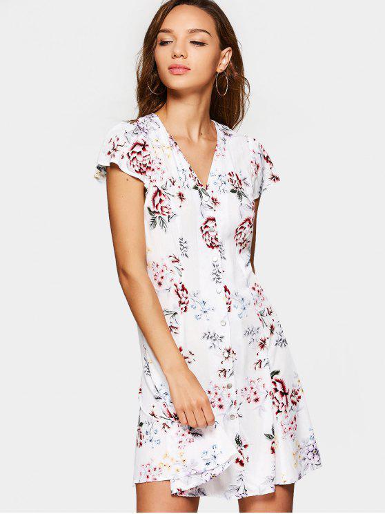 Floral White Mini Dress