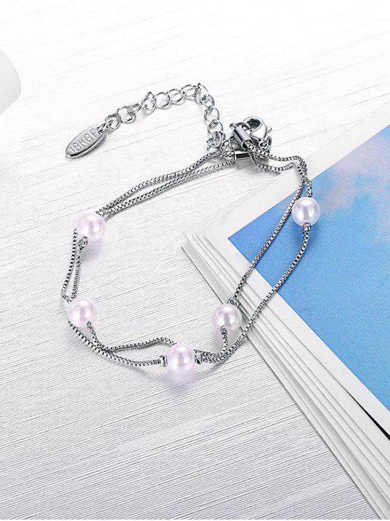 Braccialetto di catena della perla di Faux - SILVER