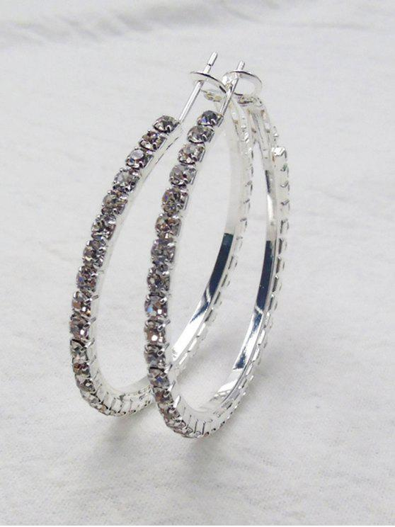 best Rhinestone Big Hoop Earrings - SILVER