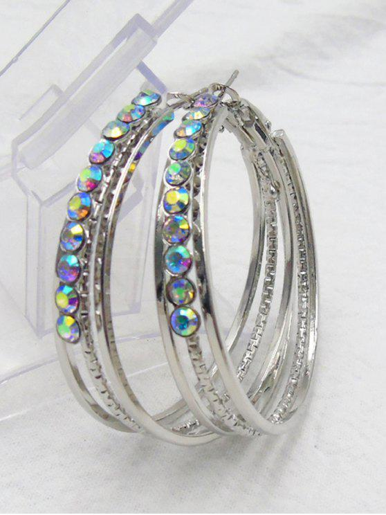 Rhinestone Metal Alloy Circle Hoop Earrings - Prateado