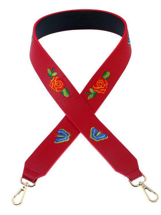 shop Butterfly Flower Embroidery Bag Shoulder Strap - RED