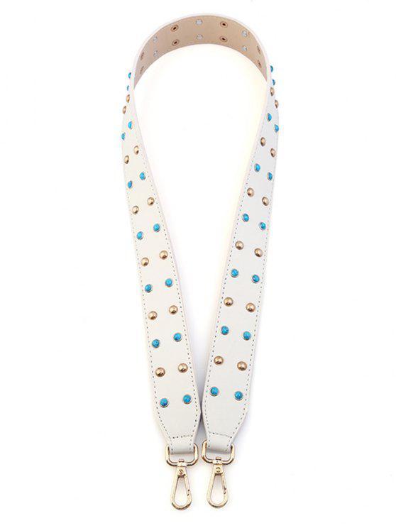 برشام مطرز بو حقيبة حزام - أبيض