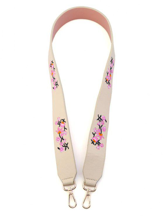 Tiny Floral Embroidery Bag Strap - Quase Branco
