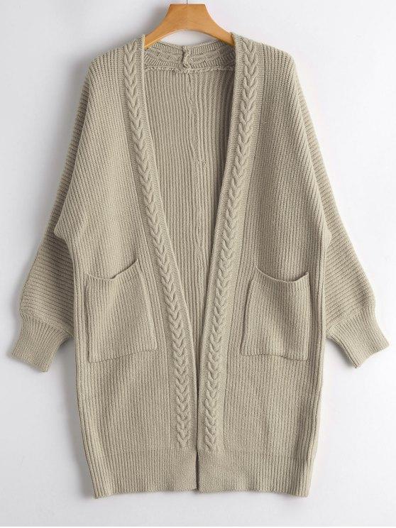 Cardigan Long Tressé avec Poches - Kaki Léger Taille Unique