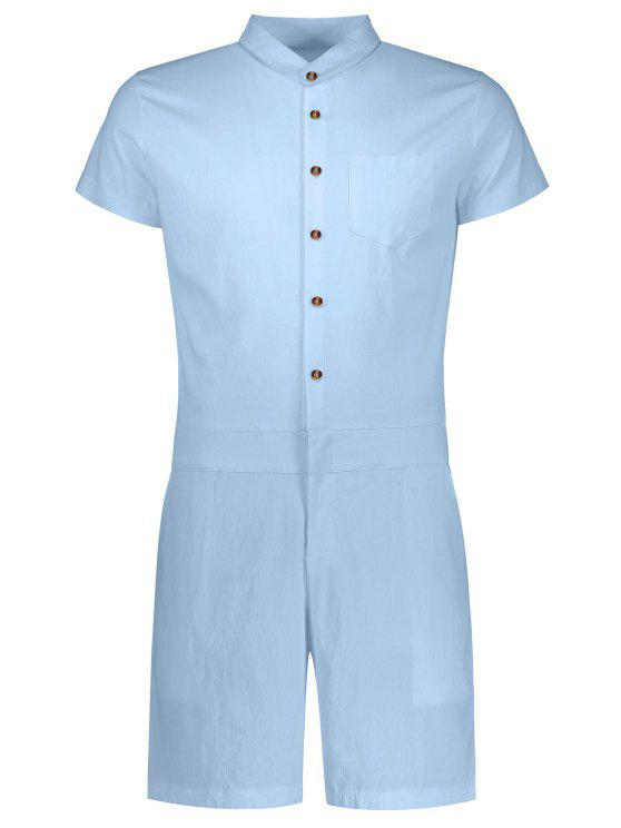 ladies Short Sleeve Single Breasted Romper - LIGHT BLUE 2XL