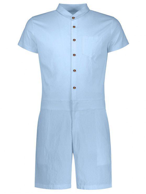 Combinaison à Manches Courtes à Boutonnage Simple - Bleu clair XL