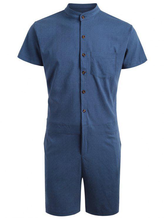 Short Sleeve Single Breasted Romper - Azul Escuro XL